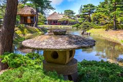 Jardin d'herbes aromatiques médicinal d'Oyakuen dans la ville d'Aizuwakamatsu, Fukushima, Japon images stock