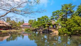 Jardin d'herbes aromatiques médicinal d'Oyakuen dans la ville d'Aizuwakamatsu, Fukushima, Japon photos libres de droits