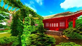 Jardin dans le style chinois et le rendu des usines 3d Photos stock