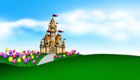 Jardin de château et de tulipes Photographie stock libre de droits