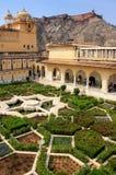 Jardin de Charbagh dans la troisième cour d'Amber Fort, Ràjasthàn, Photos libres de droits