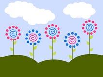 Jardin de fleur de point de polka Photographie stock