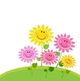 Jardin de fleur heureux de source - d'isolement sur le blanc