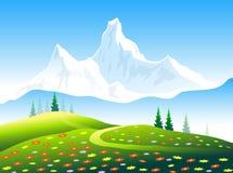 Jardin de fleurs et crêtes de neige de l'Himalaya Photographie stock libre de droits