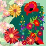 Jardin de floraison coloré Roses, pavots et wildflowers illustration libre de droits