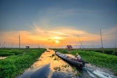 Jardin de flottement dans le lac Inle Photographie stock