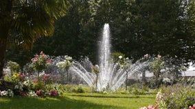 Jardin DE L ` Eveche, fontein en palm in Lisieux stock videobeelden