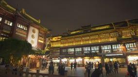 Jardin de Yuyuan à Changhaï la nuit banque de vidéos