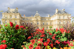 Jardin du Люксембург в пасмурном дне, Париж Франция Стоковое Изображение RF