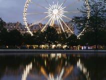 Jardin du Karusell och des Tuileries Ferris Wheel Paris Arkivbild