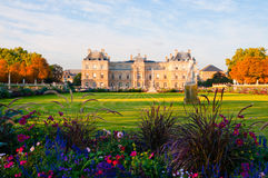 Jardin du Luxembourg with the Palace and statue. Royalty Free Stock Photography