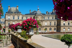 Jardin du Luxembourg. And Palace at summer in Paris, France stock photography