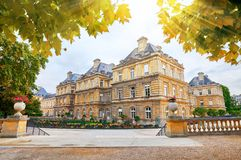 Jardin Du Luxembourg and Palace in Paris France. Royalty Free Stock Photo