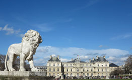 Jardin du Luxembourg. In Paris with french senate building Stock Photography