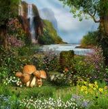Jardin enchanté par une cascade image stock