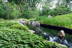Jardin et étang japonais à Saint Paul Images libres de droits