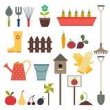 Jardin et ensemble d'icône d'outils de jardinage D'isolement sur un backgro blanc Images libres de droits