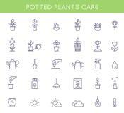 Jardin et icônes et pictogrammes mis en pot d'instructions de soin d'usines Symboles plats d'ensemble de vecteur illustration stock