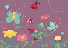 Jardin et insectes drôles Photo stock