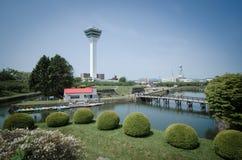 Jardin et tour d'étoile de Goryokaku image stock