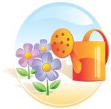 Jardin, fleurs, bidon d'arrosage. Images libres de droits