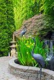 Jardin inspiré japonais avec le printemps d'étang Image stock