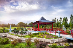 Jardin japonais à Almaty Photo stock