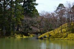 Jardin japonais et pont en bois, ressort au Japon Image stock