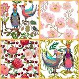 Jardin japonais Oiseaux et fleurs Photo stock