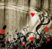 Jardin rouge de coeurs   Photos libres de droits