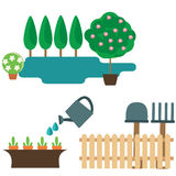 Jardin. Set of isolated elements about gardening Royalty Free Stock Image