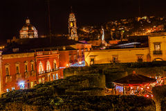 Jardin Square Night Stars Churches San Miguel de Allende Mexico Royalty Free Stock Images