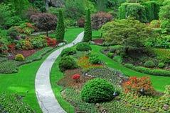 Jardin submergé dans des jardins de butchart Photographie stock libre de droits