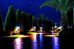Jardin tropical avec le chemin et les lanternes Photos libres de droits