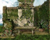 Jardin vert avec des fleurs illustration stock