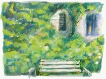 Jardin vert avec le banc, fleurs, illustration d'art de fenêtre Belle nature extérieure Horizontal de nature illustration libre de droits