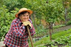 Jardinage aîné de femme Image stock