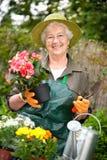 Jardinage aîné de femme Photos stock