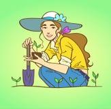 Jardinage de jeune femme illustration de vecteur
