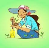 Jardinage de jeune femme Images libres de droits