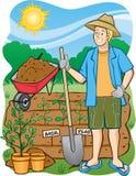 Jardinagem: Escavação dentro Fotos de Stock Royalty Free