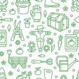 Jardinando, teste padrão sem emenda verde da plantação e da horticultura com linha ícones do vetor Equipamento de jardim, semente Foto de Stock