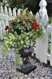Jardineira de mármore com arranjo de flores bonito da baixa do Niagara-em--lago na província de Ontário Foto de Stock Royalty Free