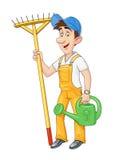 Jardineiro com ancinho e a lata molhando Ocupação de trabalho ilustração stock