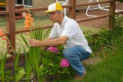 Jardineiro com flores Fotos de Stock