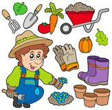 Jardineiro com vários objetos Fotos de Stock Royalty Free