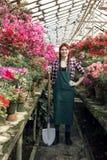 Jardineiro de sorriso da menina no avental e luvas com uma pá e uma mão grandes na cintura na estufa fotografia de stock royalty free