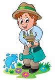 Jardineiro dos desenhos animados com lata molhando Imagem de Stock