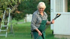 Jardineiro fêmea que sorri e que trabalha filme