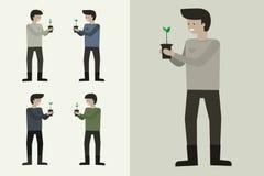Jardineiro Man Character Plant uma árvore Imagens de Stock